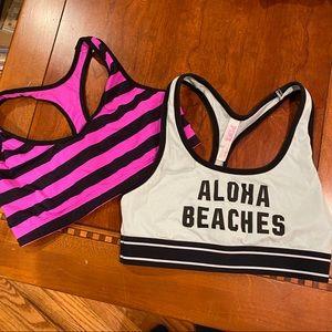 2 Pink sports bras